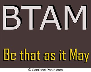 BTAM abbreviation Be that as it may displayed with text and symbolic pattern on educational background for thought prints.