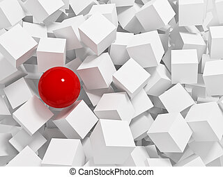 red sphere 3d and white cubes background