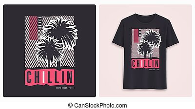 Beaach chillin. Stylish colorful graphic t-shirt design, ...