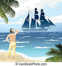 beach 16 - tropic island beach wave man and ship