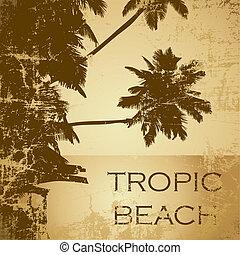beach -21 - grunge tropic beach palms on the yellow...
