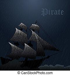 beach-26 - grunge mist pirate ship in ocean at storm