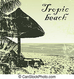 beach 3 - grunge tropic beach palms and bungalow