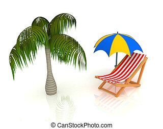3d render of chaise longue, umbrella, palm.