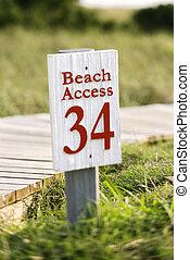 Beach access walkway and sign on Bald Head Island, North Carolina.