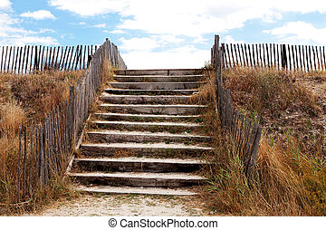 Beach access over protective dunes with stairs