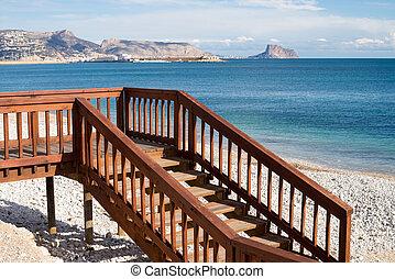 Beach access - Footbridge and steps to a sunny Mediterranean...