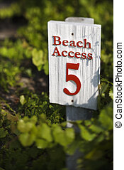 Beach access sign. - Beach access sign on Bald Head Island,...
