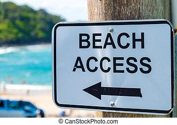 Beach Access Sign with Arrow on a pole