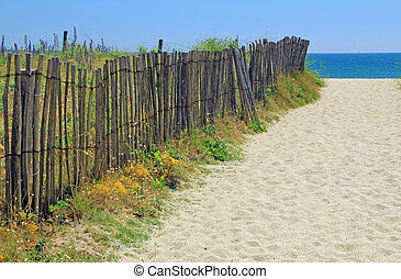 Beach access on the Atlantic coast in Brittany, France