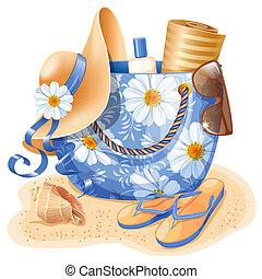 Beach accessories : bag, hat, flip-flops, sunglass and other...