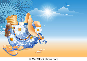 Beach accessories : bag, hat, flip-flops, sunglass and other on sea background