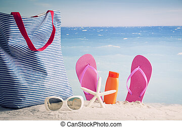 Beach accessories. Concept of summer vacations