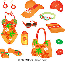 Beach accessories for woman - Colorful set of beach...
