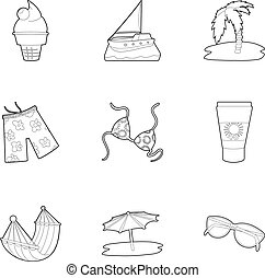 Beach accessories icons set, outline style