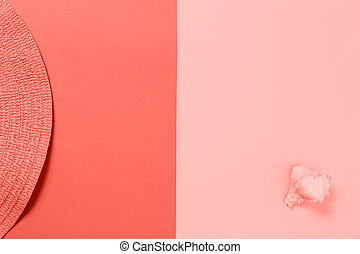 Beach accessories on the colorful background. Living coral theme - color of the year 2019