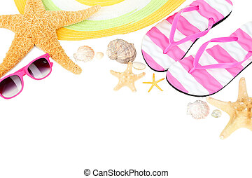 Beach accessories on white background