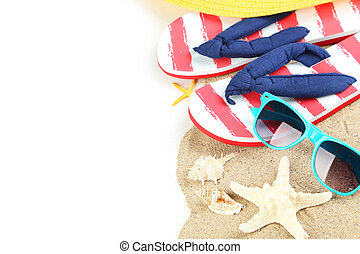 Beach accessories on white background