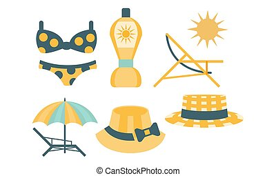 Beach Accessories Set, Skin Protection Elements, Hat, Swimsuit, Umbrella, Chaise Lounge, Sunscreen Vector Illustration