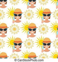 Beach accessories summer fashion beach travel beautiful tropical lifestyle suntan people seamless pattern background illustration.