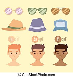 Beach accessories summer hats collection vector fashion beach travel beautiful tropical lifestyle people illustration.