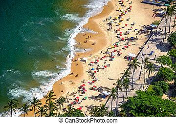 Beach - Aerial view of a beach, Urca, Rio de Janeiro, Brazil