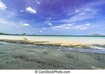 beach and blue sky.