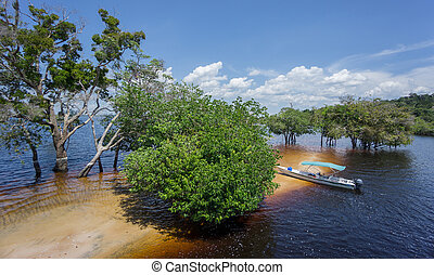 Beach and boat in the middle of Rio Negro, Brazil - Sand...