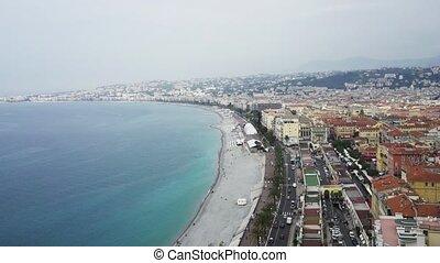 Beach and calm sea in Nice, France