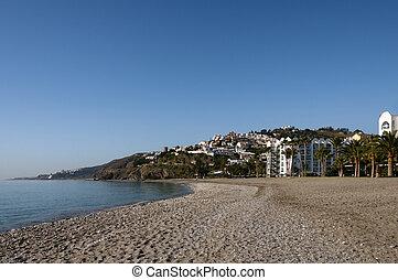 Beach and city Nerja, Spain