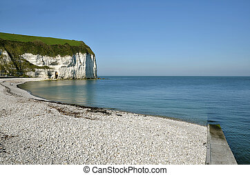 Beach and cliff of Yport in France - Pebble beach and cliff ...