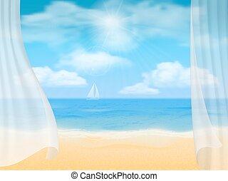 beach and curtains