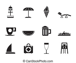 beach and holiday icons