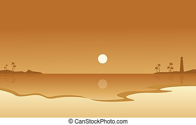 Beach and moon landscape of silhouettes