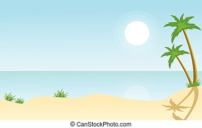 Beach and palm scenery vector flat