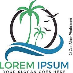 Beach and palm tree vector logo.