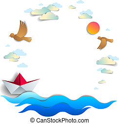 Beach and palms, ocean waves and origami paper ship toy swimming, frame or border with copy space, beautiful vector card of scenic seascape with toy boat floating in the sea and birds in the sky.