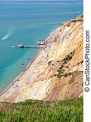 beach and pier Alum Bay IOW - Alum Bay Isle of Wight by the...