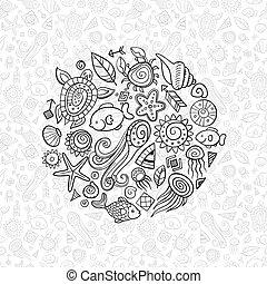 beach and sea doodles
