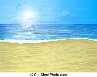 Beach and sea - Empty sand beach, sea and cloudy sky