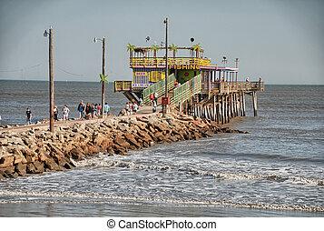 Beach and sea of Galveston, Texas.