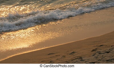 Beach and sea waves in sunset sun - Beach and sea waves in...