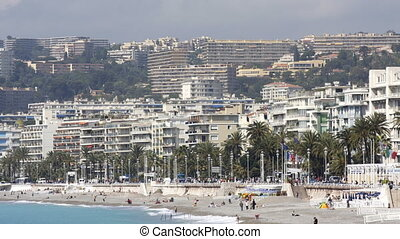 beach and skyline view, nice, south of france