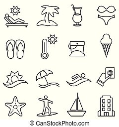 Beach and summer icon set