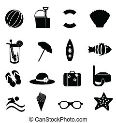 Beach and summer icons on white