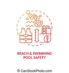 Beach and swimming pool safety concept icon