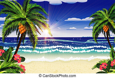 Beach and tropical sea - Beautiful background of tropical ...