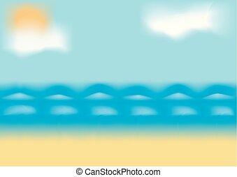 Beach and tropical sea. EPS10 vector.