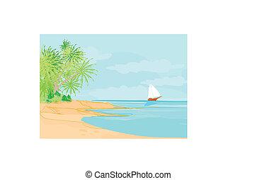 Beach and tropical sea landscape vector.