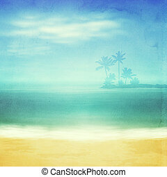 Beach and tropical sea with island and palm trees. Retro...